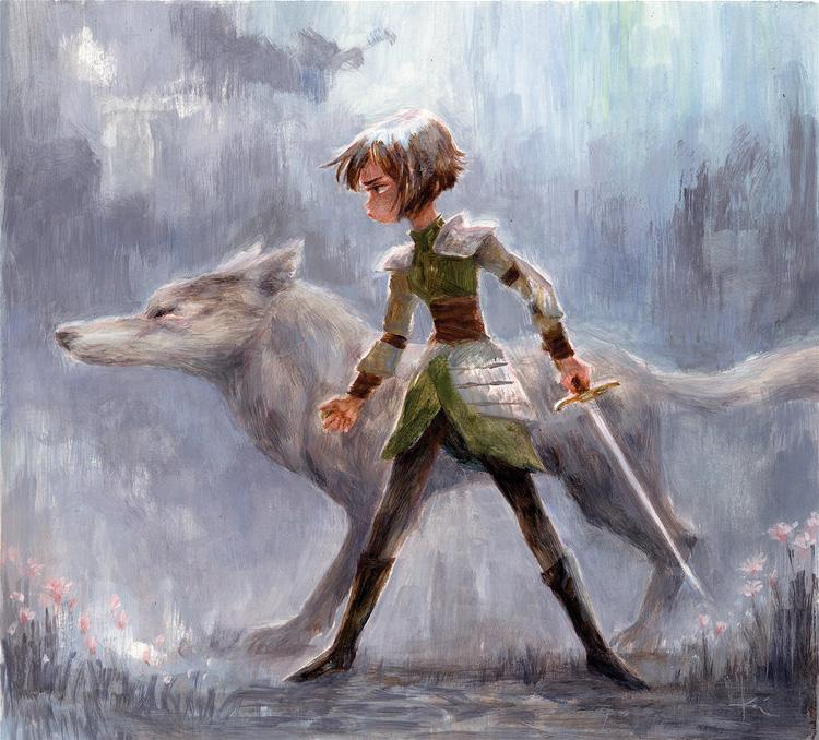 painting of a girl with a wolf