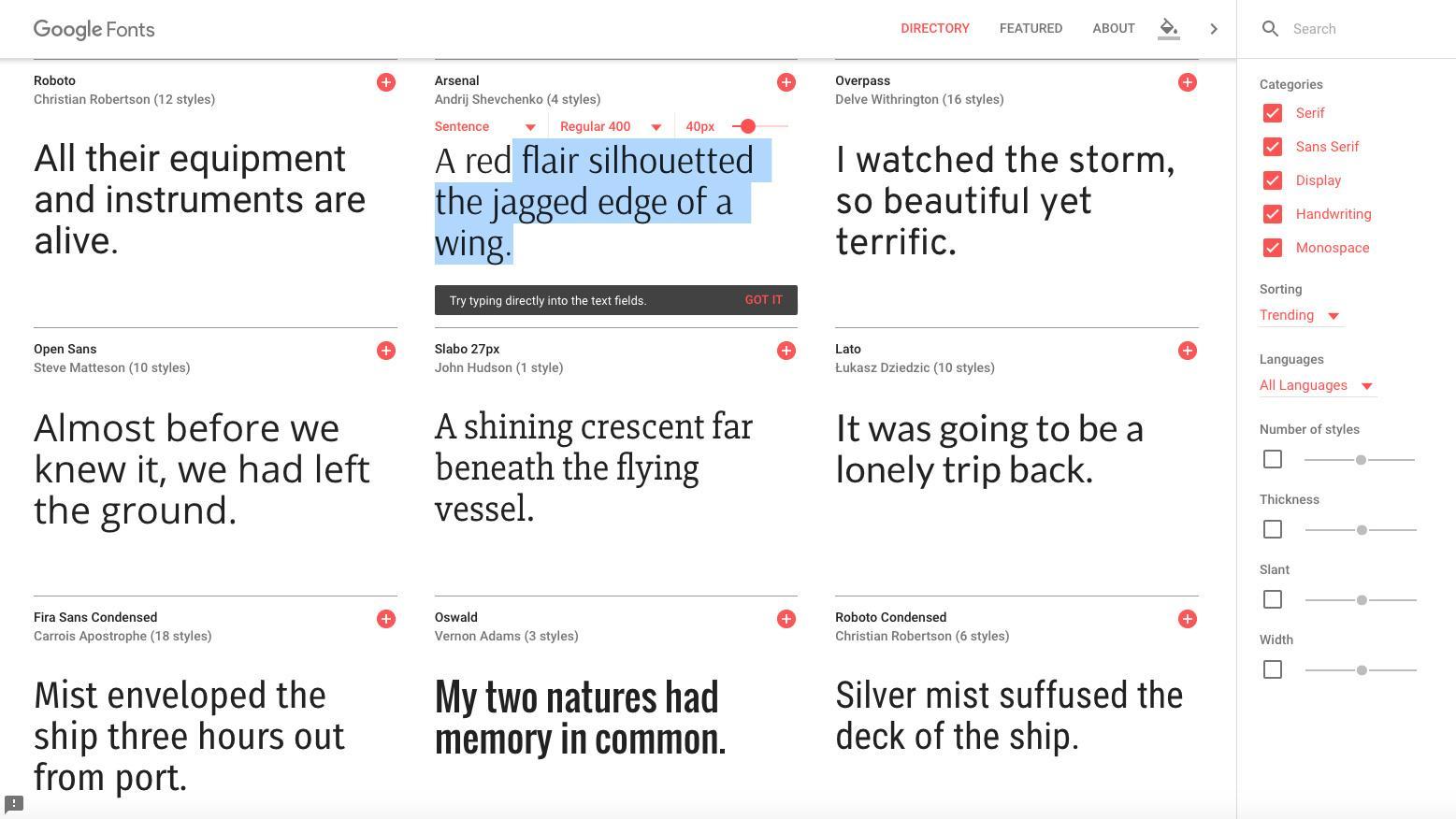 Landing page design - Google Fonts