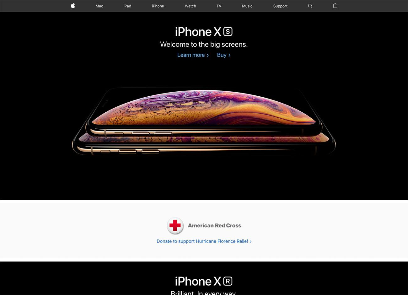 Apple's landing page centres around beautifully shot product photography