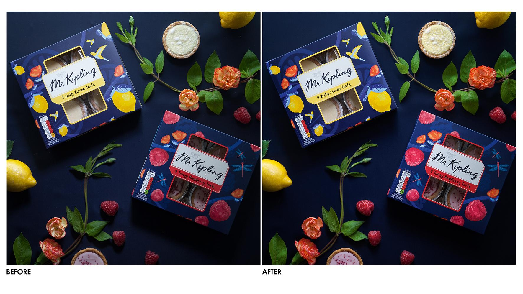 Mr Kipling before and after colour correction photos