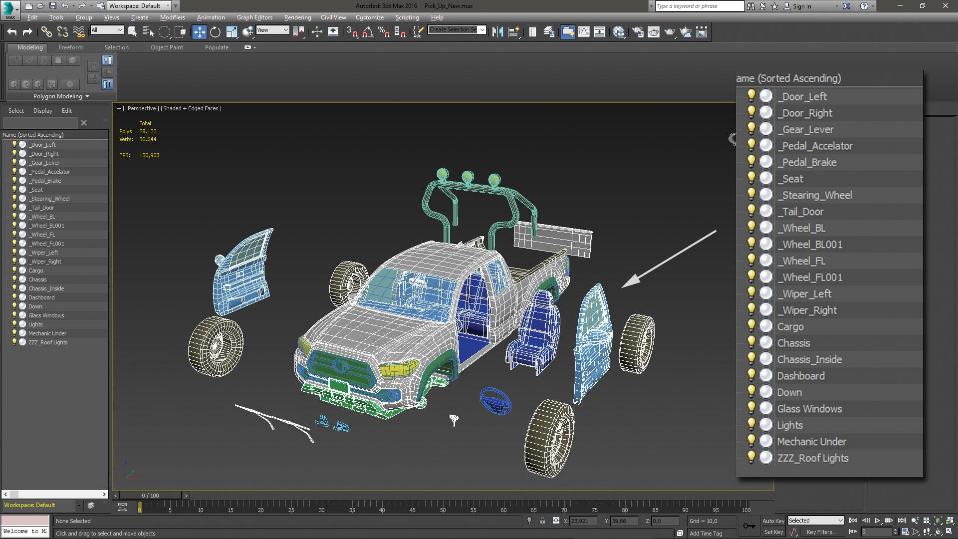 Make vehicle animations with iClone 7: Select the four-wheel structure