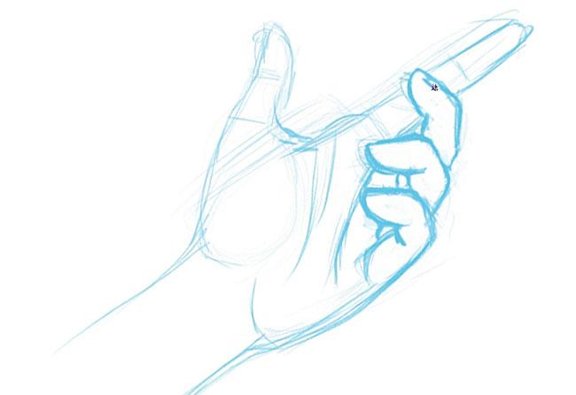 sketch of a hand with details