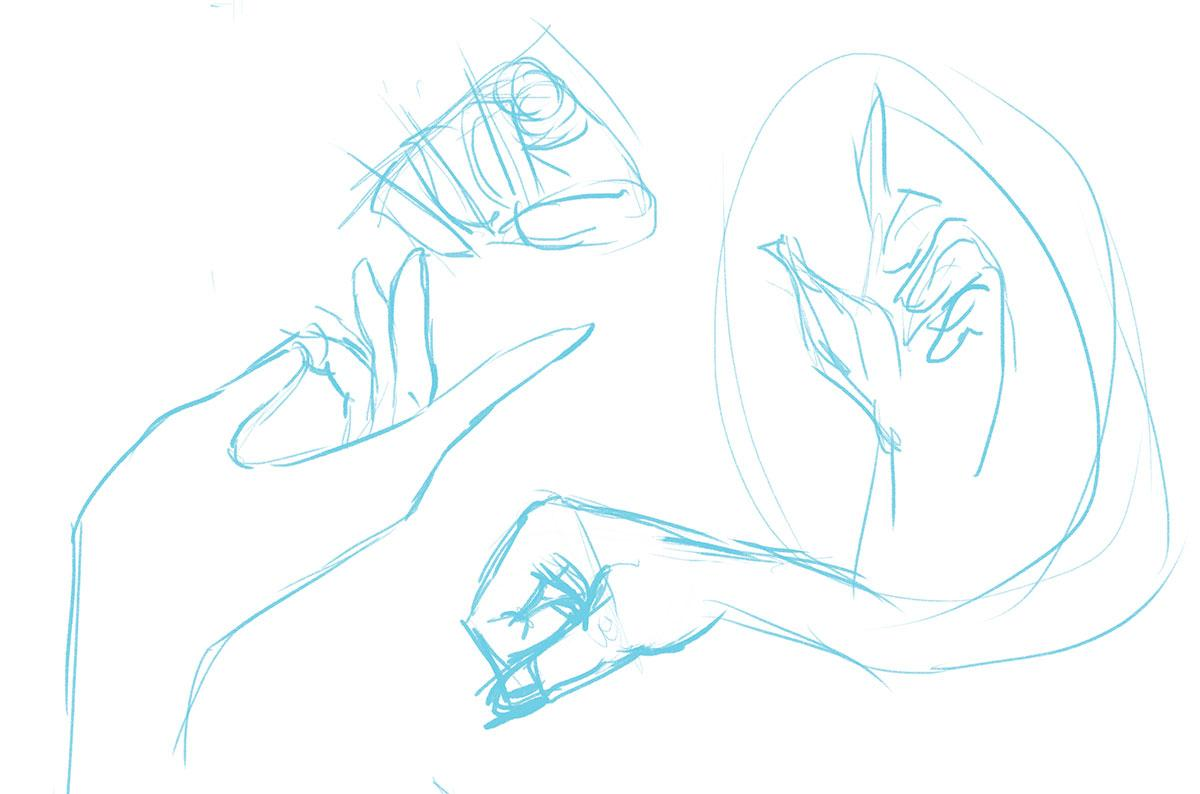 sketches of hands with different gestures