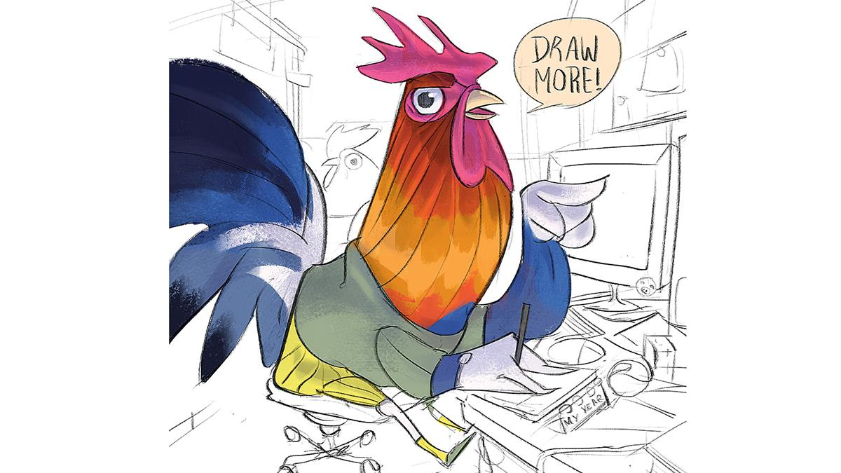 image of a cockerel saying 'draw more'