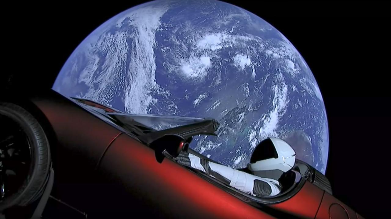Tesla car on the moon