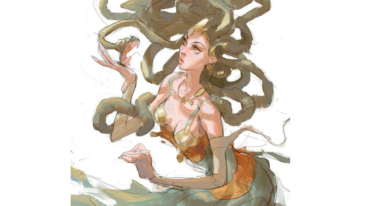 image of a Medusa-like woman