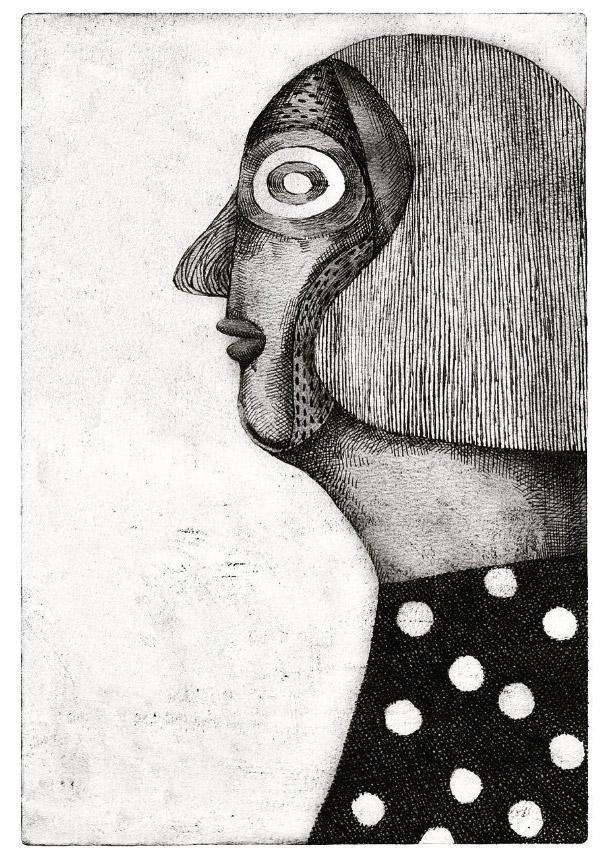 Black and white profile portrait of a woman