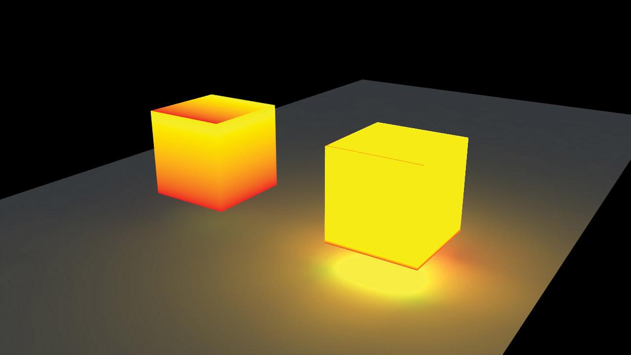 A pair of cubes, one lit up, one reflecting