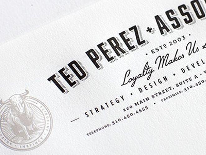Ted Perez + Associates typographic letterhead with bull logo