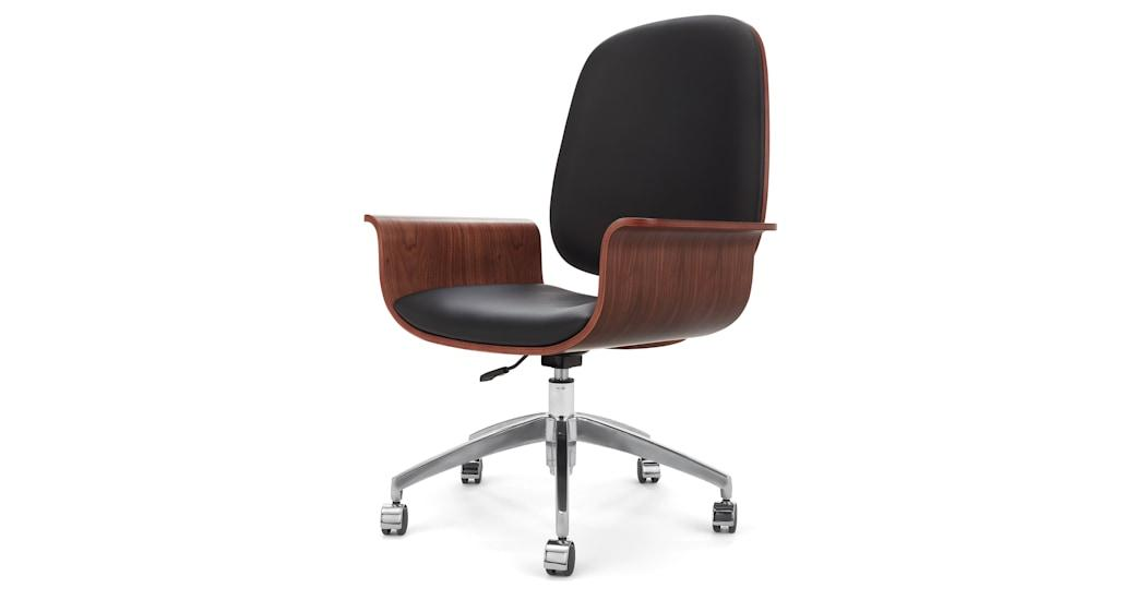 Saul Office Chair, Walnut and Black