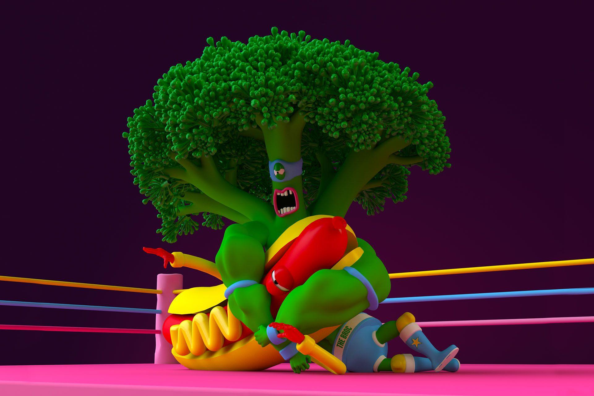 Broccoli man wrestling a hotdog