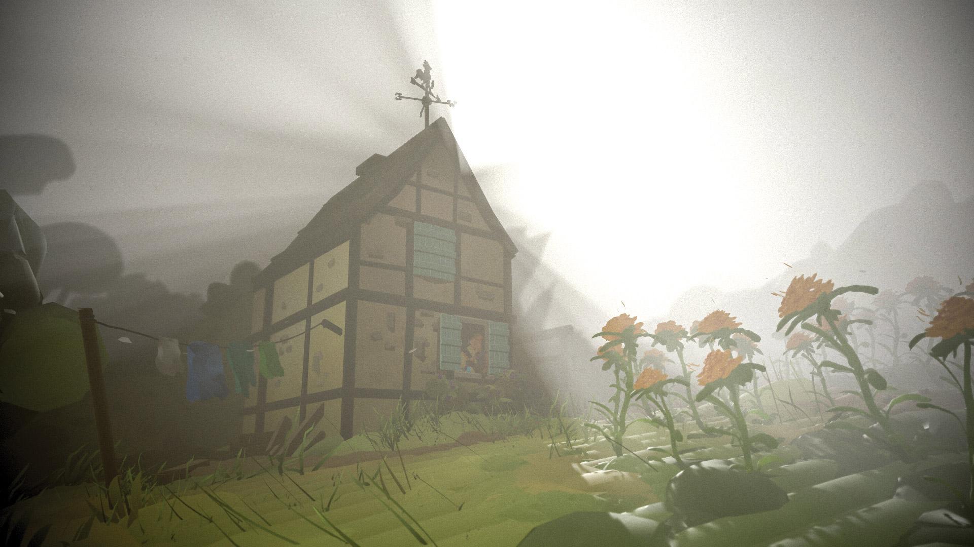 Rural barn scene with added fog