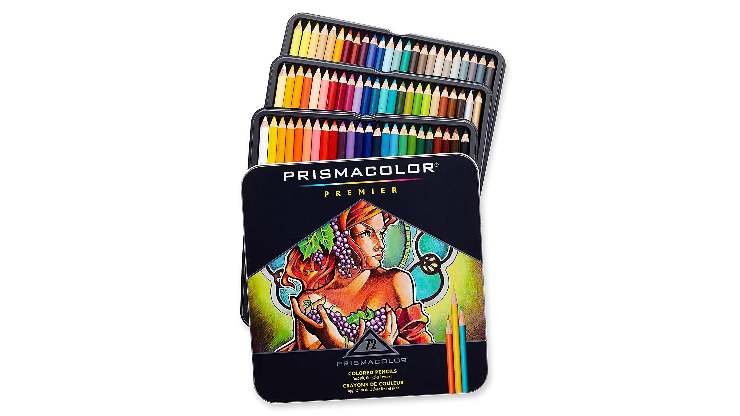 Colourful tins of Prismacolor Premier coloured pencils
