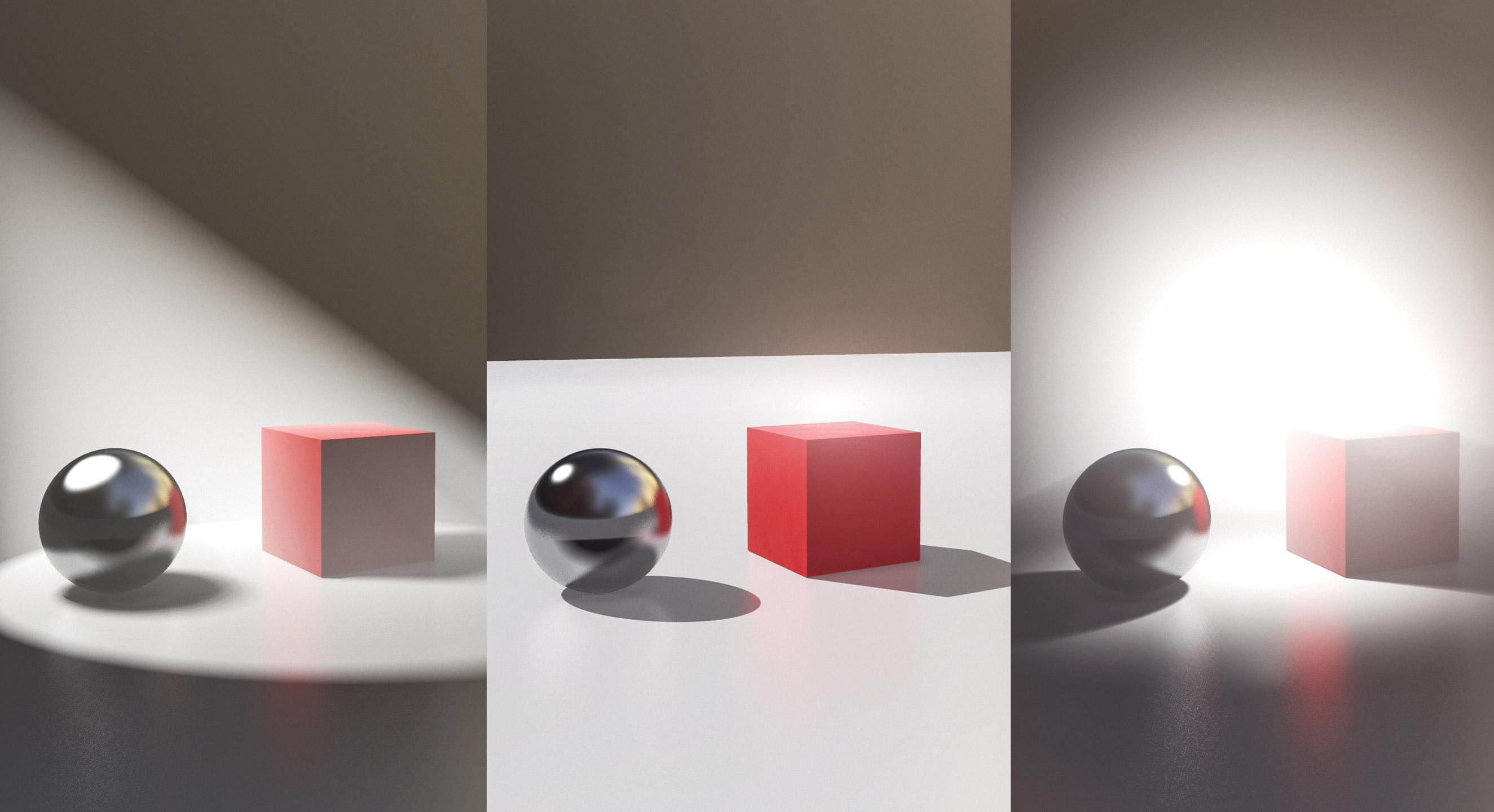 Three sets of cubes and spheres interacting with different lighting angles