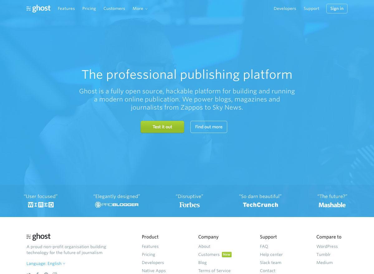 Ghost website screenshot says 'The professional publishing platform'
