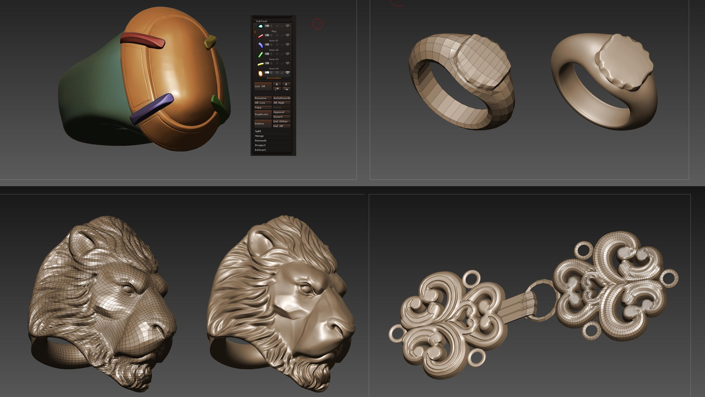objects in ZBrush including lion's head and ring