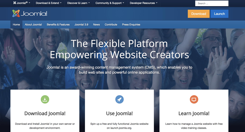 Screenshot of Joomla homepage