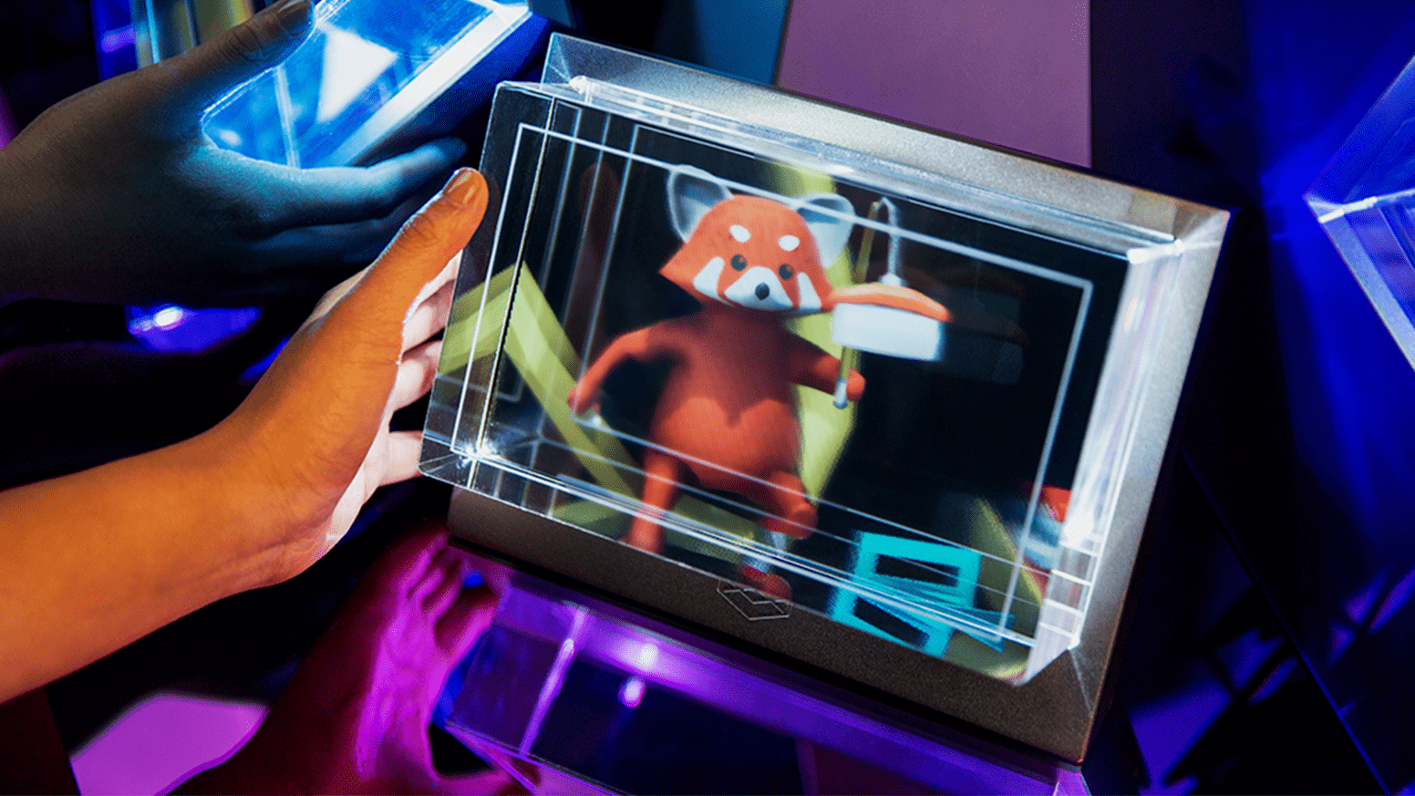Cartoon animal on holographic display