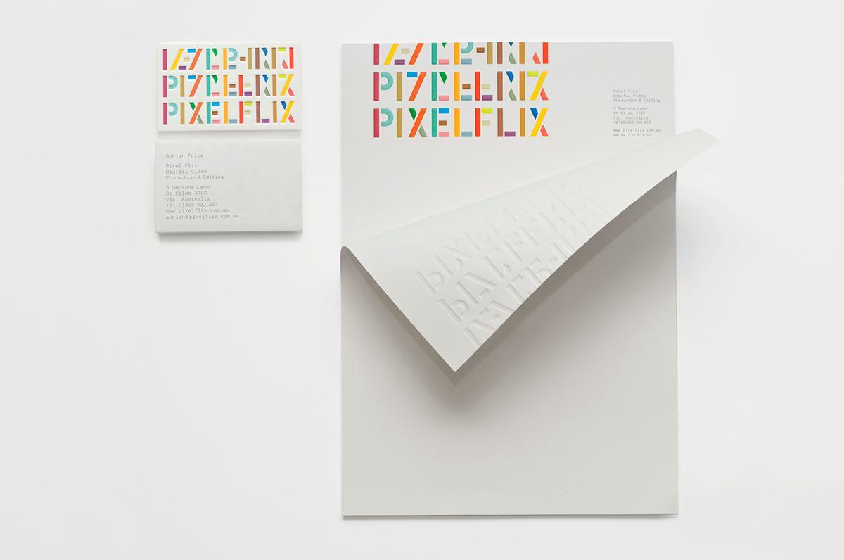 Pixelflix's embossed and rainbow-coloured typography letterhead
