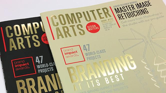 Two front covers of Computer Arts magazine with gold foil text and illustrations