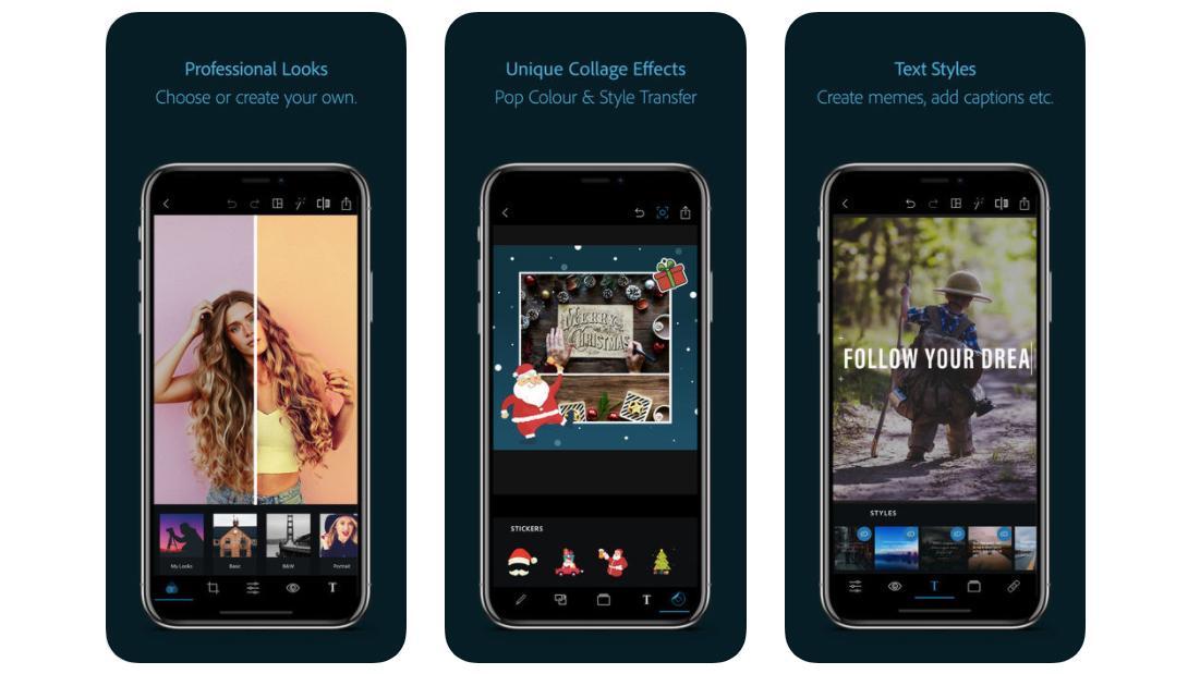 Photoshop Express app on smartphone