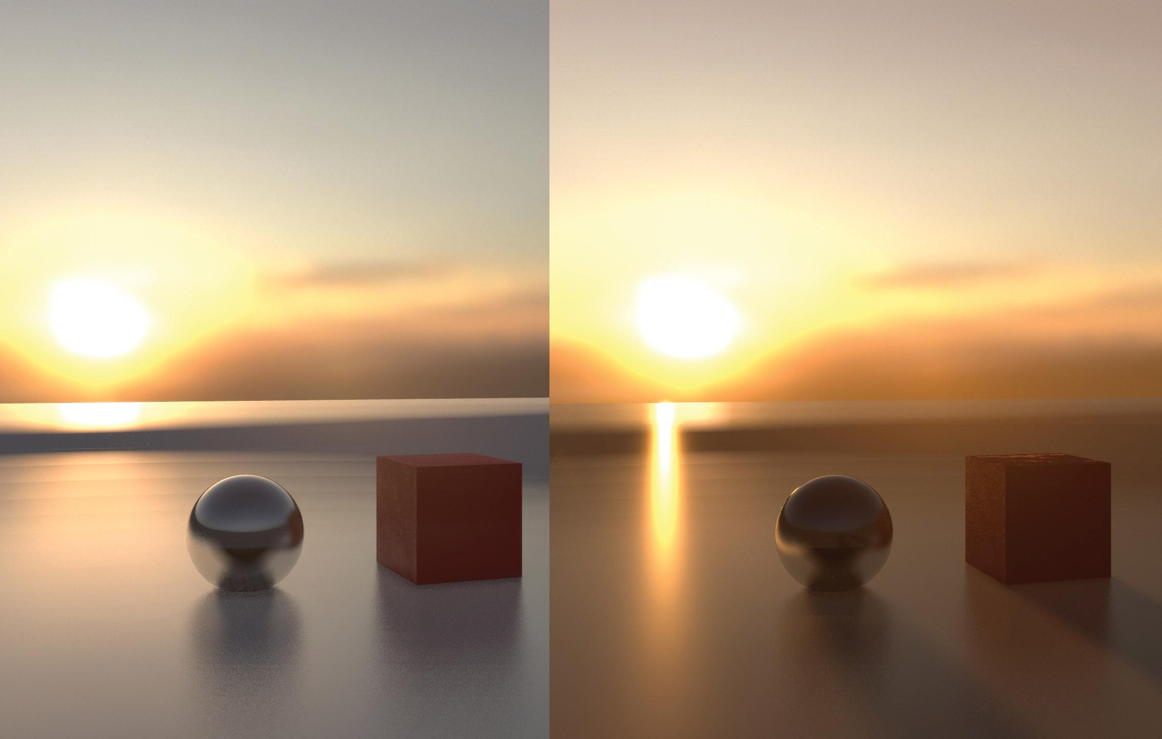 A pair of spheres and cubes in a sunset scene to demonstrate lighting