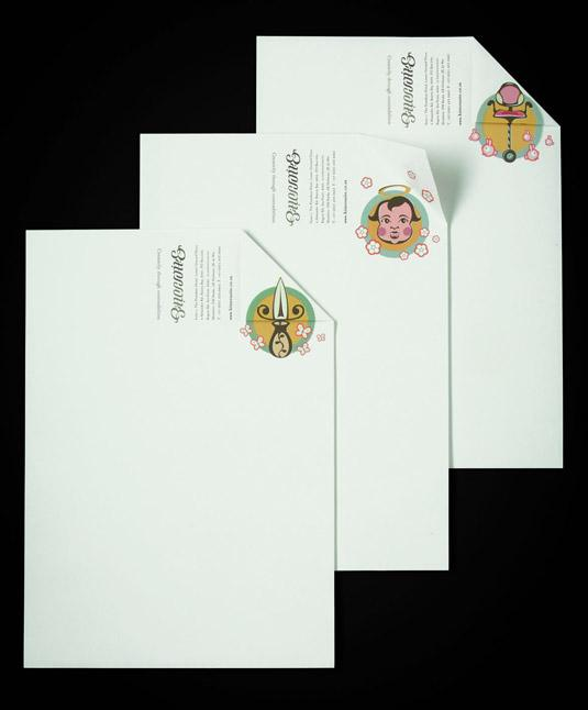 Illustrated letterhead for Bittersuite features a calligraphy-style logo and quirky images of a knife and a cherub's face in blue and yellow circles
