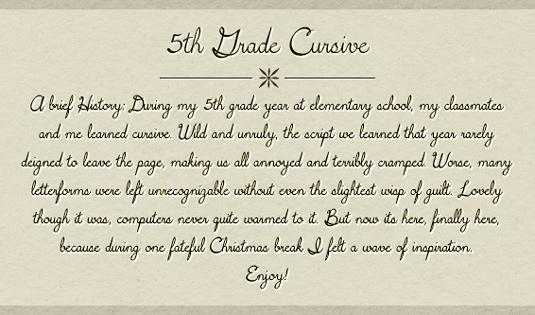 Free cursive fonts: 5th Grade Cursive