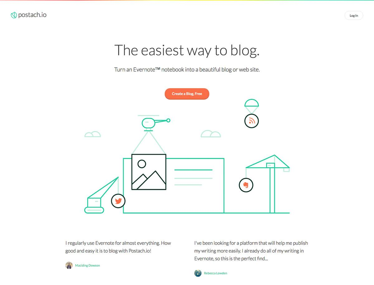 Screenshot of the Postach.io site says 'The easiest way to blog'