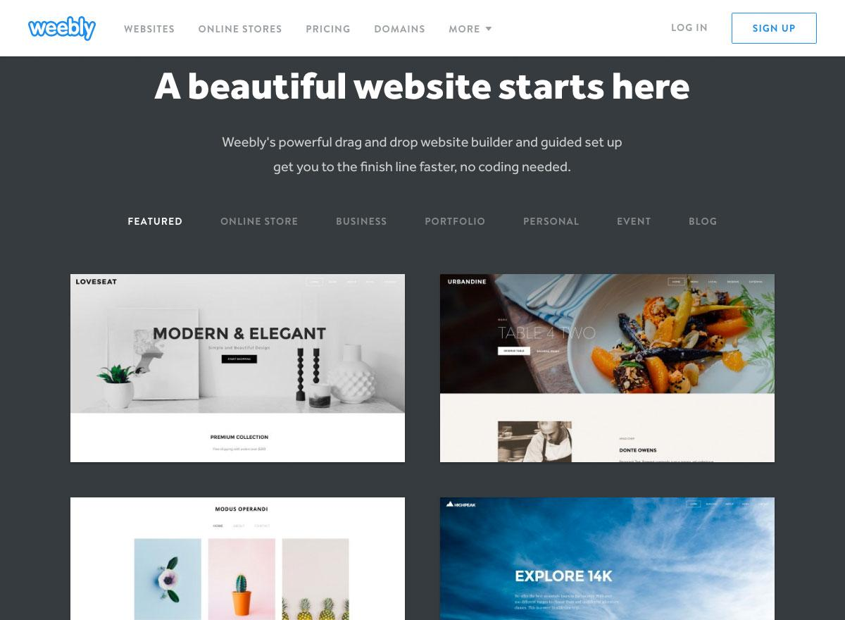 Screenshot of the Weebly website says 'A beautiful website starts here'