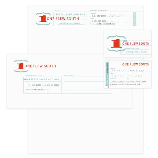 One Flew South's letterhead design features blue and red type and graphics, resembling an old-fashioned first-class airline ticket