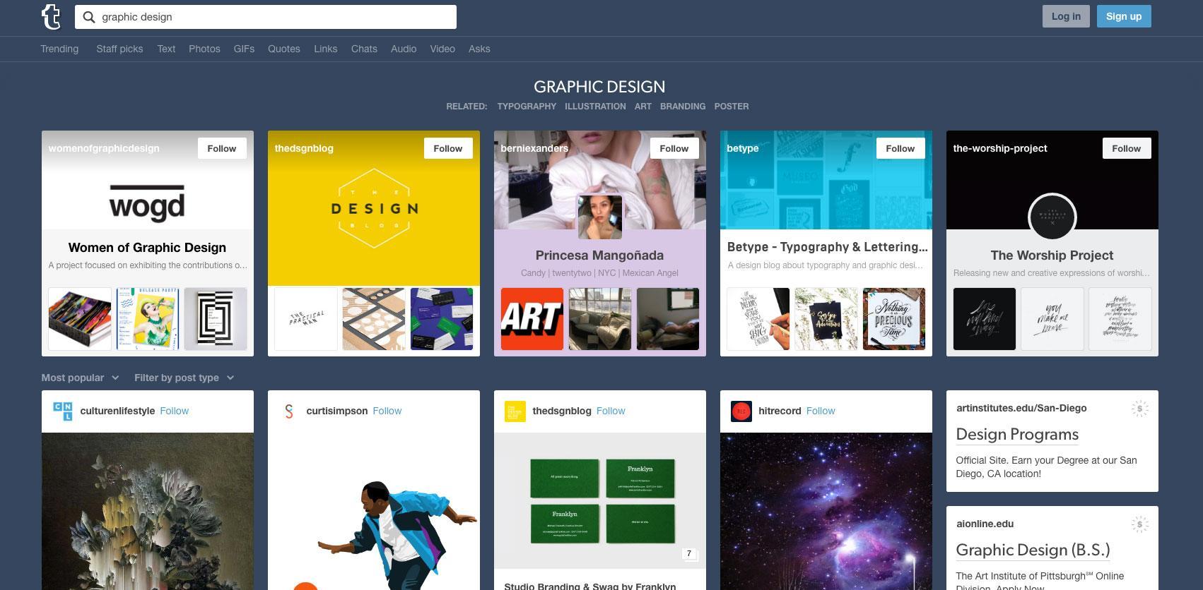 Screenshot of Tumblr website