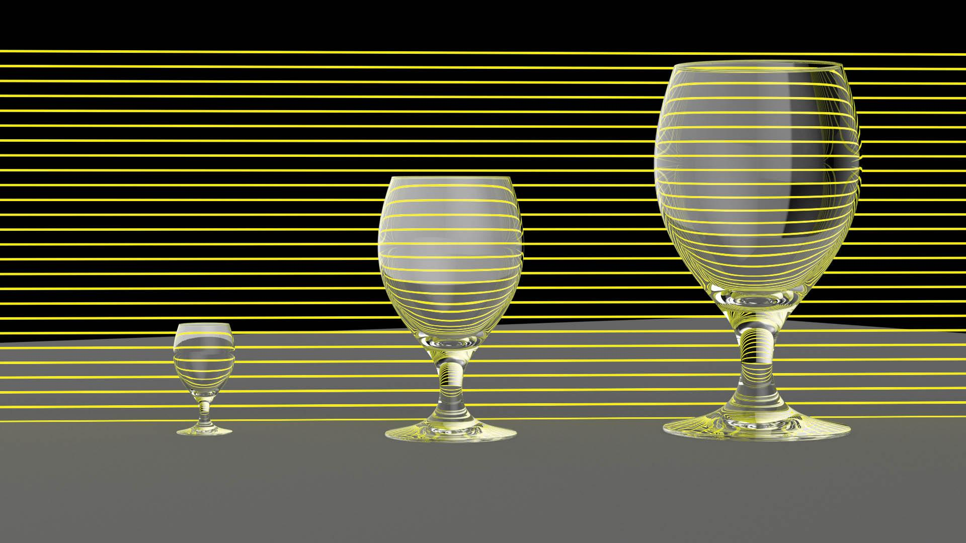 three glasses at different scales