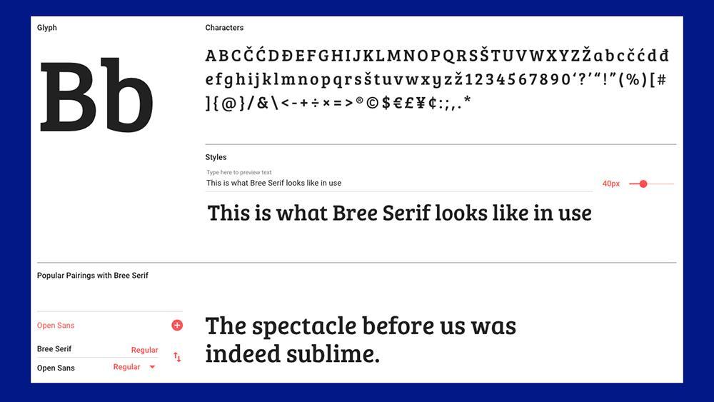 Best free fonts: Bree serif