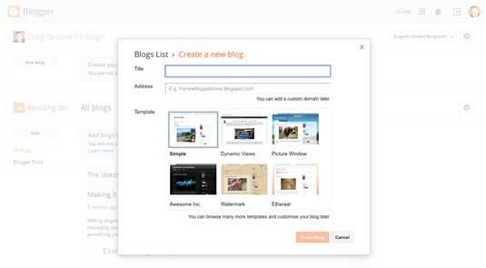 Blogger site screenshot