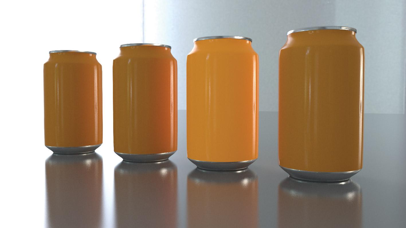A series of 4 3D cans