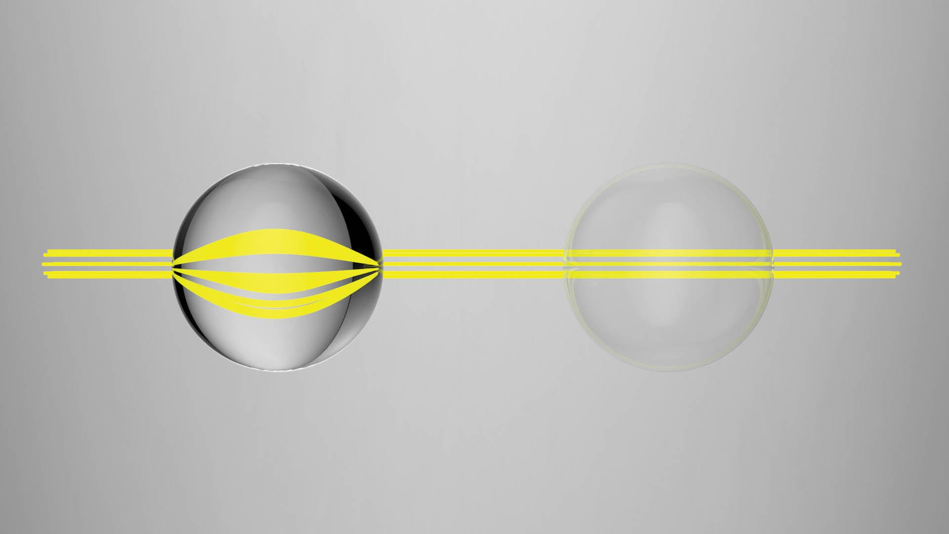 two objects with light going through them