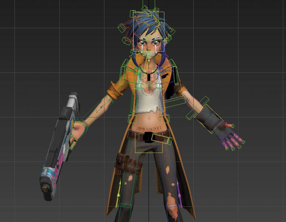 rigged up character in 3ds Max