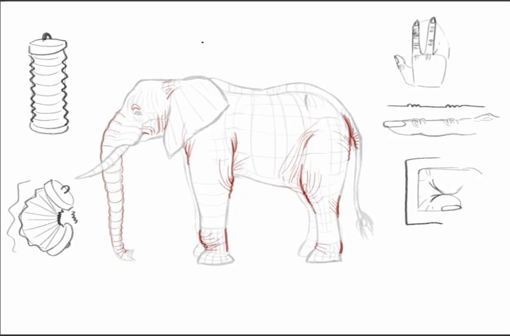Sketch of an elephant alongside a slinky and finger to depict how joints look