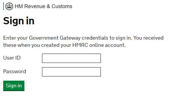 HMRC services login screen