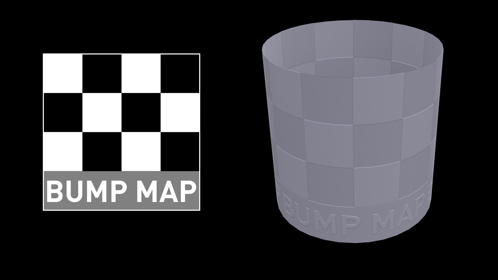 A 3D tube with a black and white chequerboard bump map