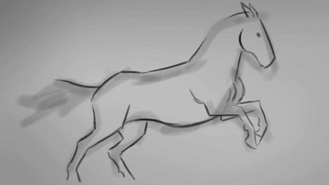 A blurred horse sketch with some finer line detail added