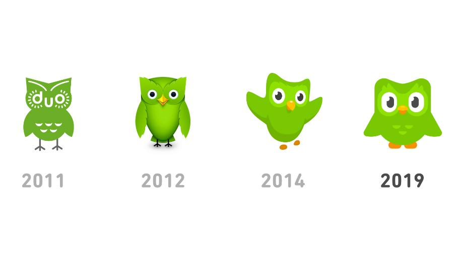 Four iterations of the Duolingo mascot from 2011 to 2019