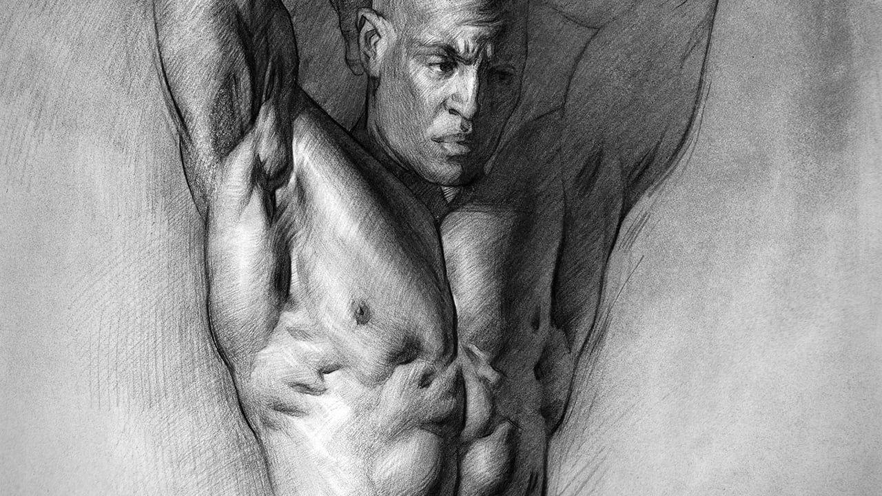 Monochrome drawing of naked man's torso