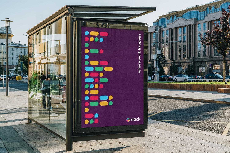Slack logo on a bus station
