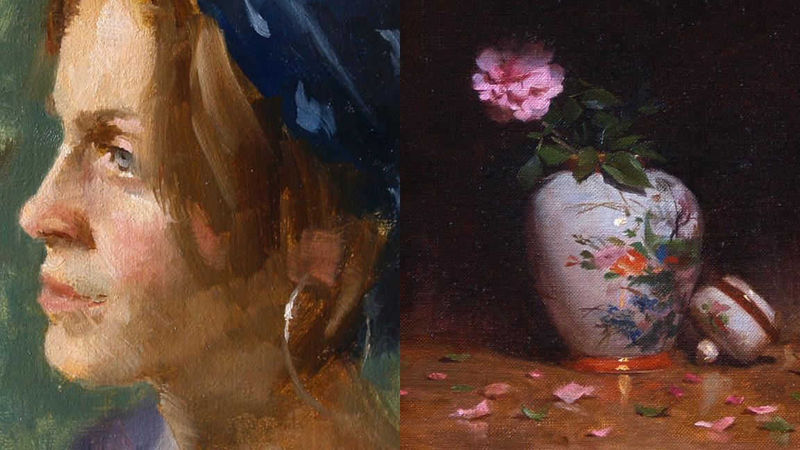 two contrasting paintings showing different techniques