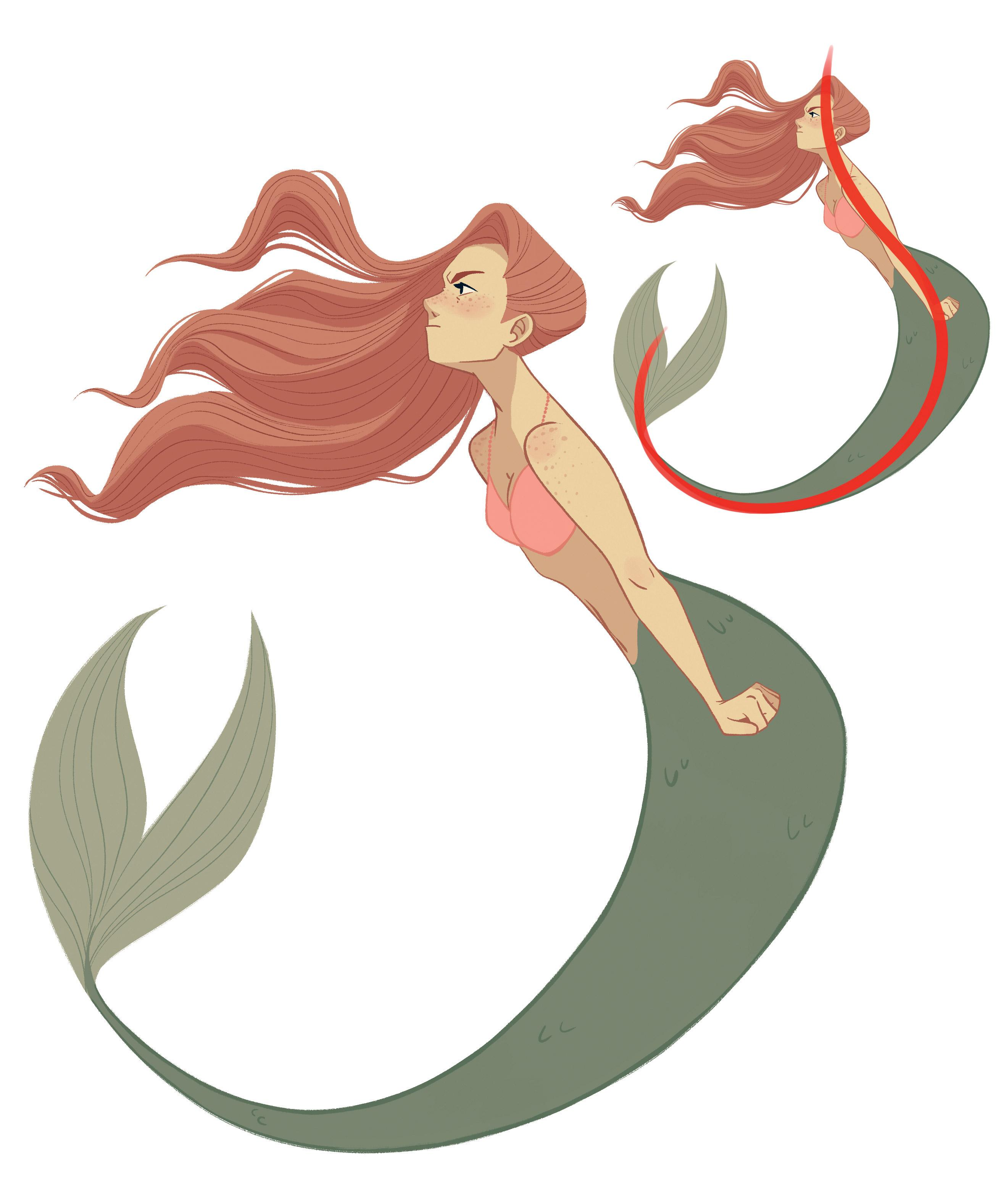A mermaid curled over with a line of action laid over top