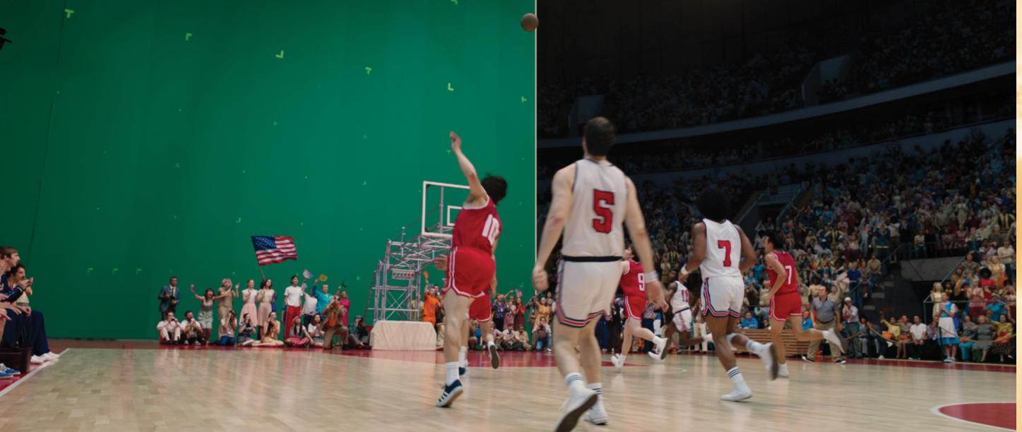 Basketball players competing against a greenscreen