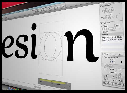 Close-up of letters being draw on a screen using Glyphs software