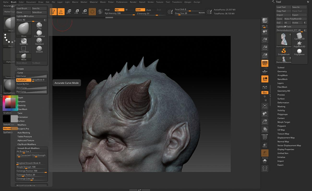 15 tips to master ZBrush: Use Accurate Curve Mode for spines/spikes